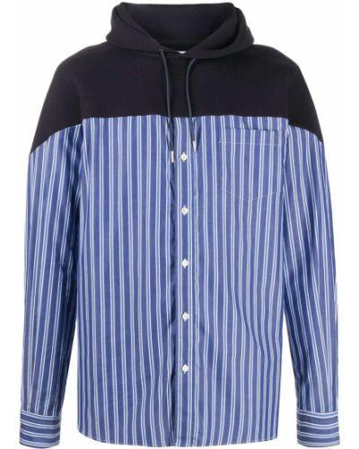 Niebieska bluza długa z kapturem w paski Sacai