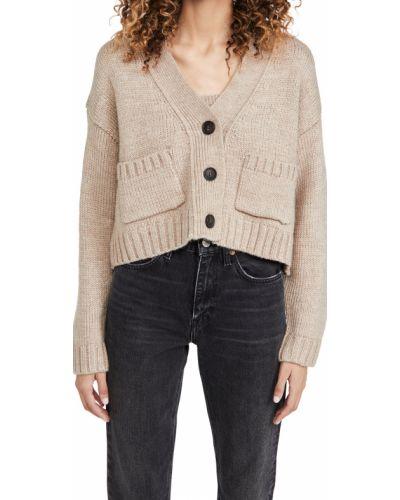 Коричневый шерстяной длинный свитер с V-образным вырезом English Factory