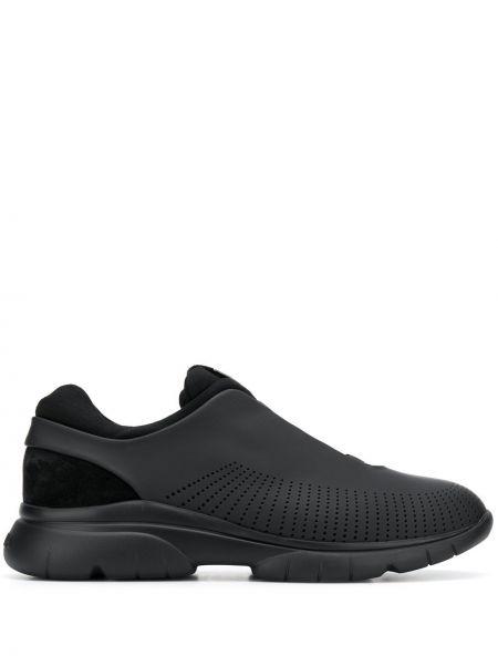 Черные кроссовки с перфорацией с заплатками Ermenegildo Zegna