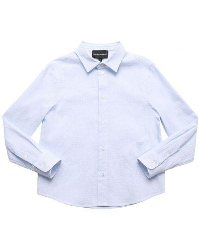 Niebieska koszula bawełniana w paski Emporio Armani