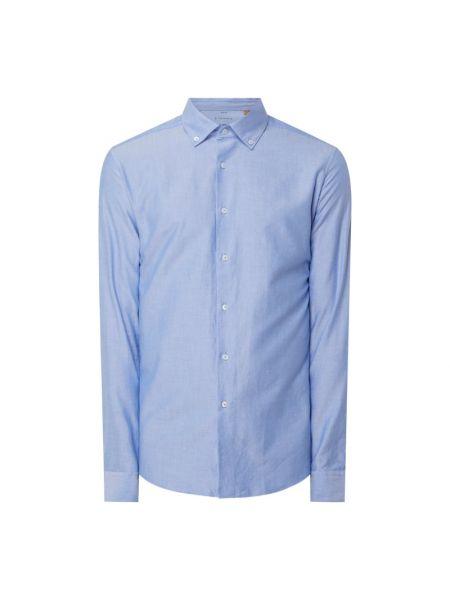 Niebieska koszula oxford bawełniana z długimi rękawami Eterna