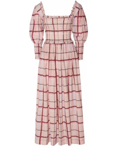 Платье миди розовое в клетку Ganni