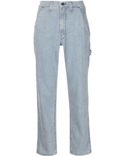Джинсовые синие прямые джинсы с принтом Mother