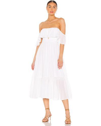Biały bawełna sukienka midi z dekoltem na gumce Majorelle