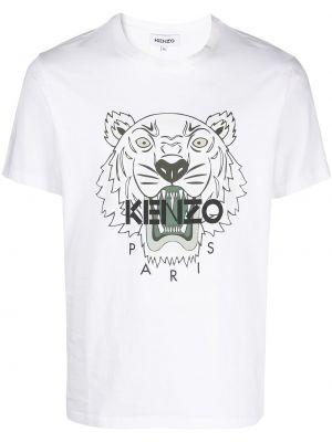 Футболка с принтом - белая Kenzo