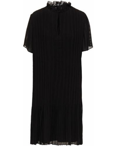 Шифоновое черное платье мини с декольте SamsØe Φ SamsØe