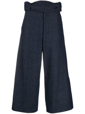 Хлопковые синие укороченные брюки свободного кроя SociÉtÉ Anonyme