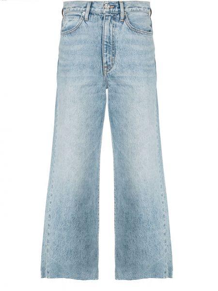 Синие укороченные джинсы с поясом в стиле бохо свободного кроя Slvrlake