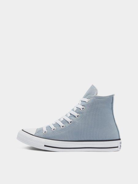 Высокие кеды на шнуровке - голубые Converse