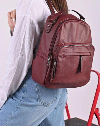 Кожаный рюкзак - бордовый No Brand