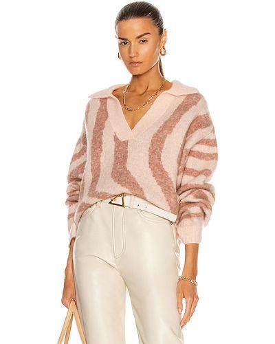 Розовый шерстяной свитер с воротником Remain