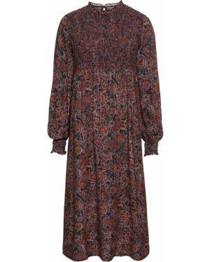 Платье миди с длинными рукавами с воротником Bonprix