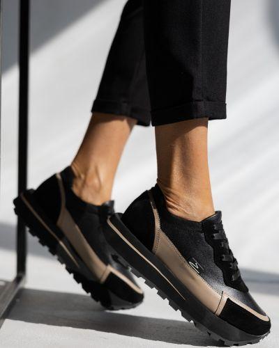 Кожаные кроссовки - черные Olli