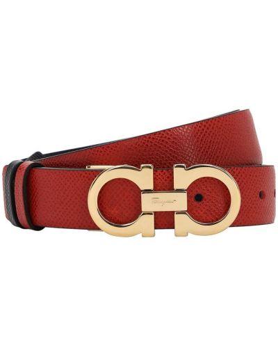 Кожаный красный ремень с пряжкой двусторонний Salvatore Ferragamo