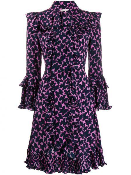 Шелковое плиссированное платье миди со складками с воротником La Doublej