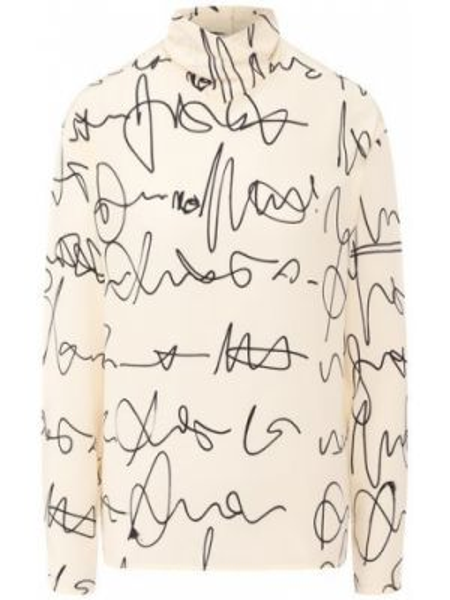 Шелковая бежевая рубашка Victoria Beckham