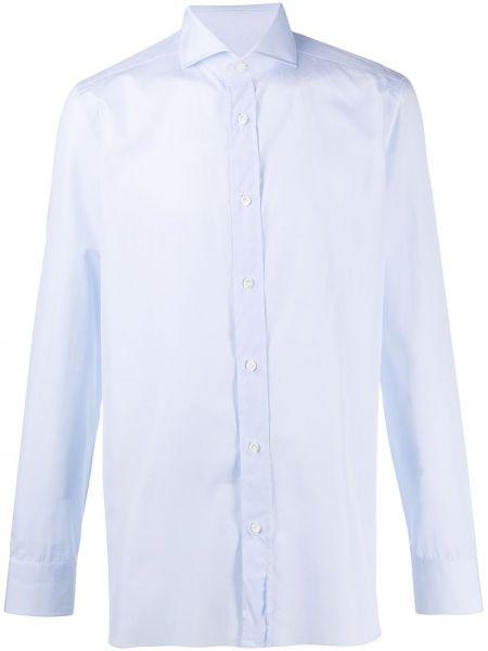 Синяя рубашка с воротником с манжетами на пуговицах Borrelli