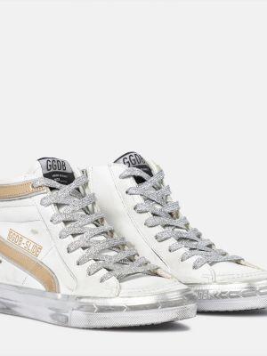 Złoty biały skórzany wysoki sneakersy Golden Goose