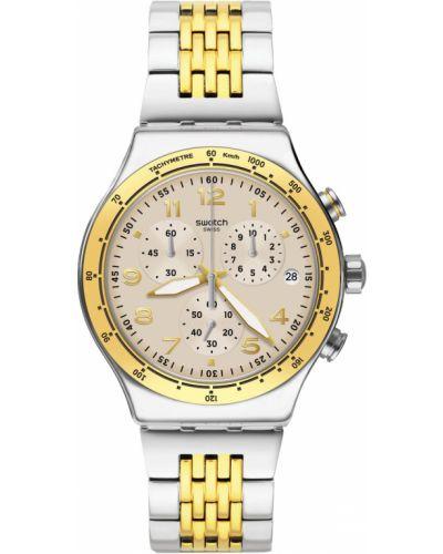 Повседневные акриловые серебряные часы водонепроницаемые Swatch