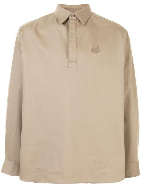 Prosto brązowy koszulka polo zapinane na guziki z długimi rękawami Kenzo