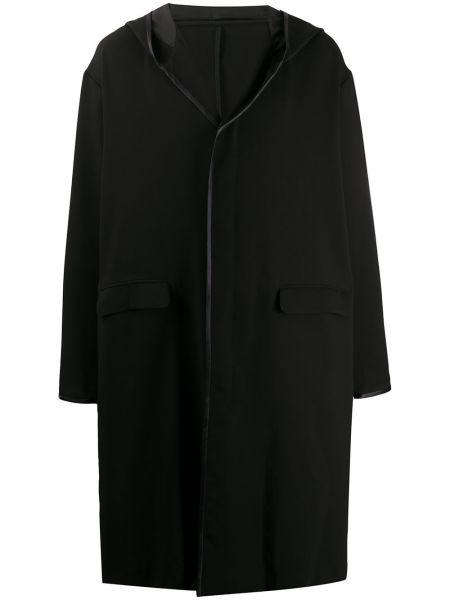 Czarny płaszcz z jedwabiu z długimi rękawami Undercover