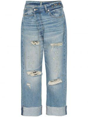 Хлопковые синие джинсы бойфренды с открытой спиной R13