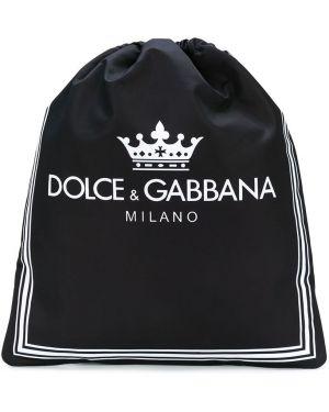 Кожаный черный рюкзак на шнурках Dolce & Gabbana Kids