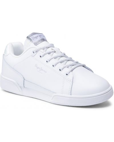 Buty sportowe skorzane - białe Pepe Jeans