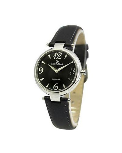 Часы на кожаном ремешке кварцевые швейцарские Grovana