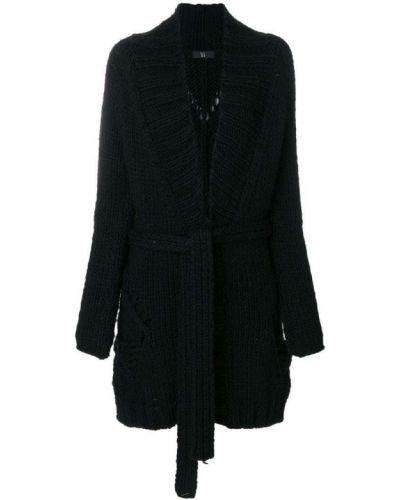 Шерстяное черное пальто с капюшоном Yohji Yamamoto Pre-owned