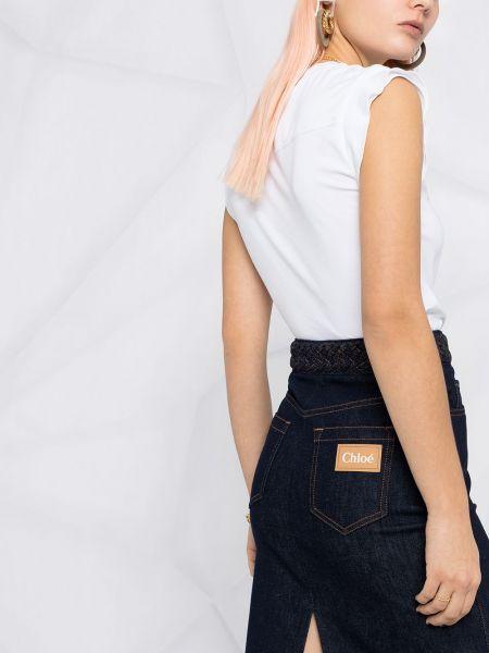 Синяя кожаная юбка миди с карманами Chloé