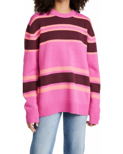 Różowy długi sweter wełniany w paski Acne Studios