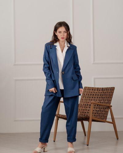 Льняной пиджак - синий Azuri
