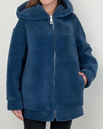 Синяя шуба из искусственного меха с капюшоном каляев