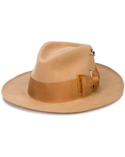 Коричневая шляпа-федора свободного кроя Nick Fouquet