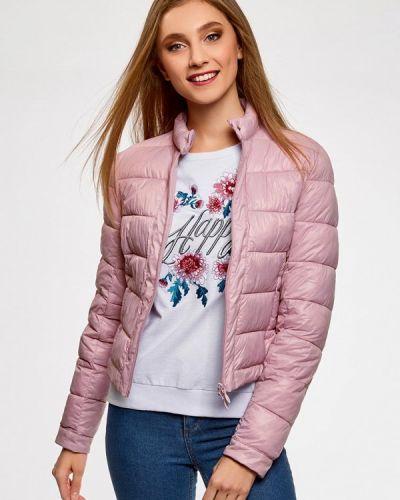 Утепленная куртка весенняя розовая Oodji