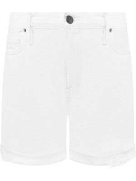 Хлопковые белые джинсовые шорты со стразами Frame Denim