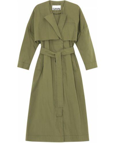 Парусиновое зеленое пальто с карманами Ganni
