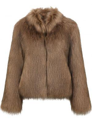 Brązowa kurtka z akrylu Unreal Fur