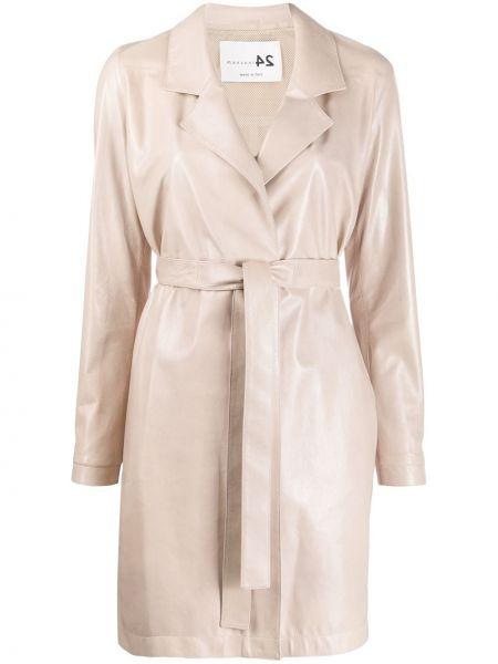 Прямое кожаное длинное пальто с капюшоном Manzoni 24