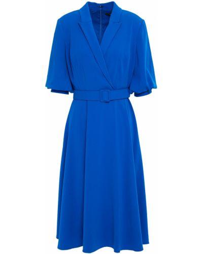 Синее платье с поясом на крючках Badgley Mischka