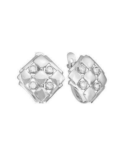 Серебряные серьги с фианитом кюз дельта