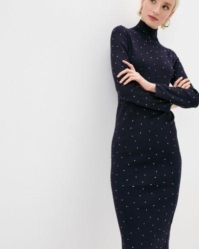 Трикотажное синее вязаное платье Love Republic