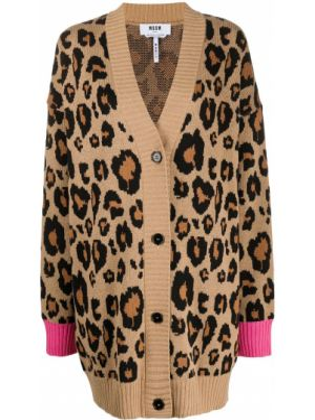 Кардиган леопардовый длинный Msgm