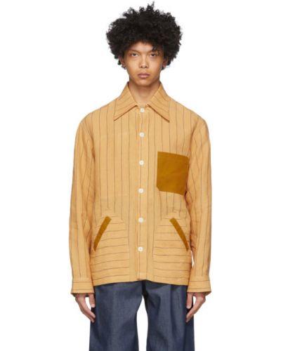 Koszula z długim rękawem z paskami żółty Nicholas Daley