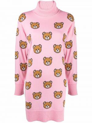 Розовое трикотажное платье макси Moschino