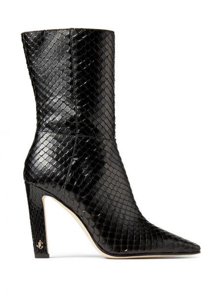 Skórzany czarny buty obcasy na pięcie kwadratowy Jimmy Choo