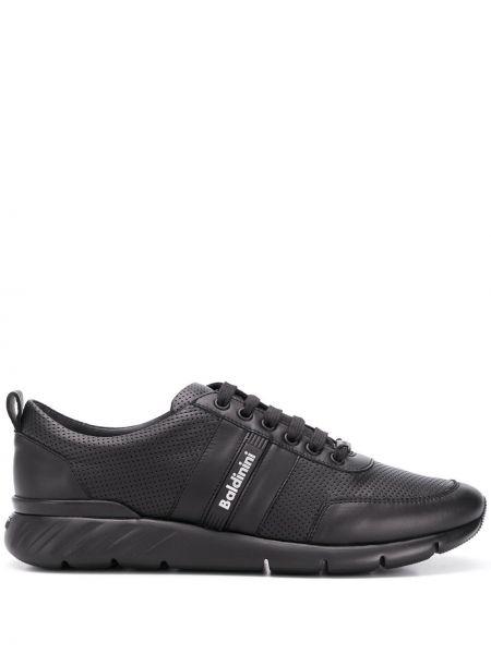 Кружевные кожаные черные кроссовки на шнурках Baldinini
