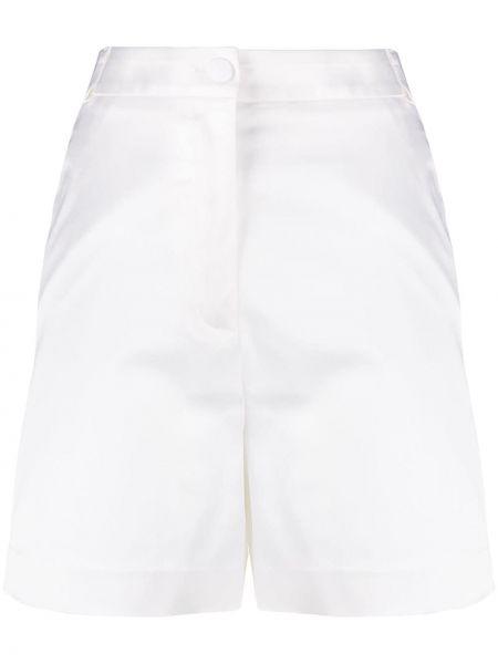 Однобортные белые короткие шорты с карманами Blumarine