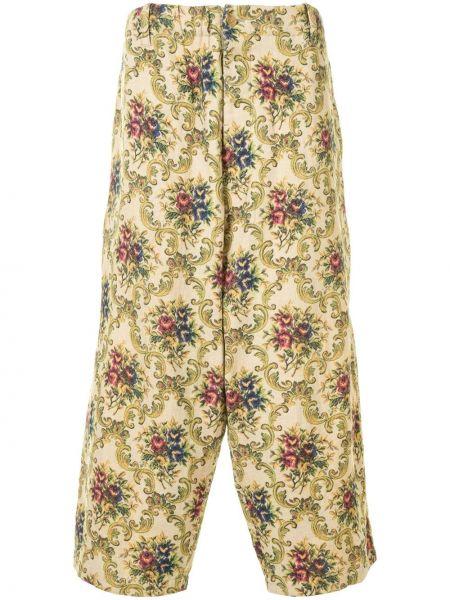 Хлопковые свободные брюки свободного кроя на молнии Yohji Yamamoto Pre-owned